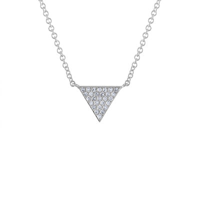 14KT GOLD DIAMOND PAVE TRIANGLE NECKLACE