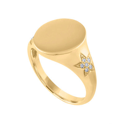 14KT GOLD DIAMOND STAR ENGRAVABLE OVAL SIGNET RING