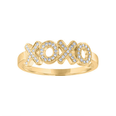"14KT GOLD DIAMOND ""XOXO"" RING"