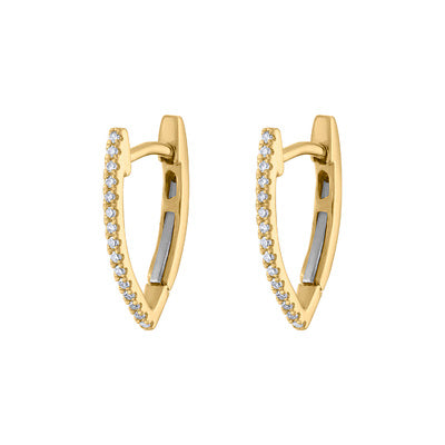 "14KT GOLD DIAMOND ""V"" SHAPE HUGGIE EARRING"
