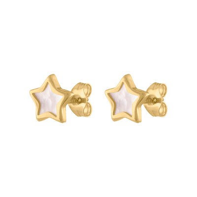 14KT GOLD MOTHER OF PEARL STAR STUD EARRING
