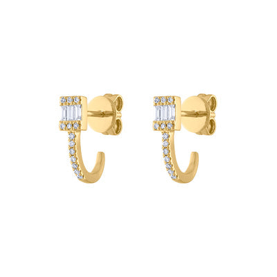 14KT GOLD DIAMOND BAGUETTE WRAP EARRING