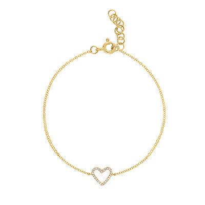 14KT GOLD DIAMOND OUTLINE HEART BRACELET