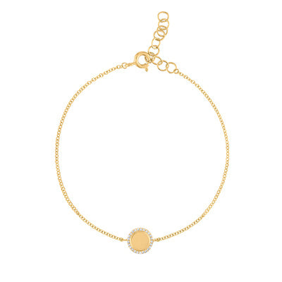 14KT GOLD DIAMOND OUTLINE SHINY DISK BRACELET