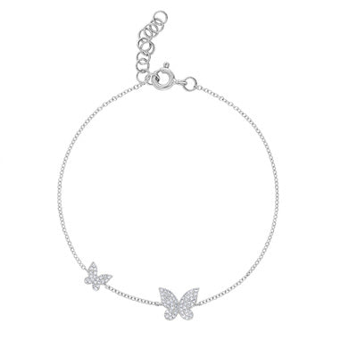 14KT GOLD PAVE DIAMOND TWO BUTTERFLY BRACELET