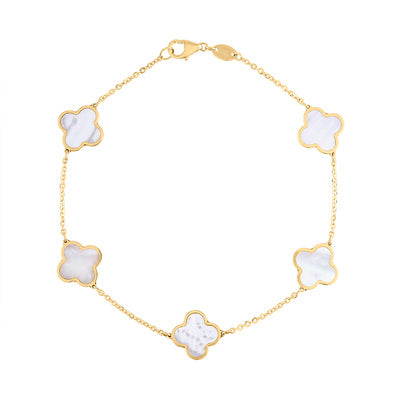 14KT GOLD MOTHER OF PEARL 5 CLOVER BRACELET