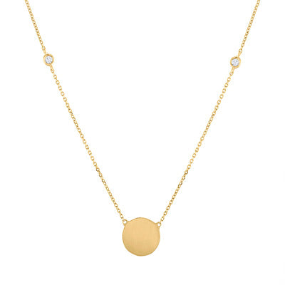 14KT GOLD CIRCLE WITH DIAMOND BEZEL NECKLACE