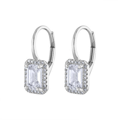14KT GOLD DIAMOND AND WHITE TOPAZ RECTANGLE DROP EARRING