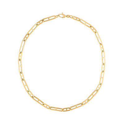 "14KT GOLD 16"" OVAL ""H"" LINK NECKLACE"