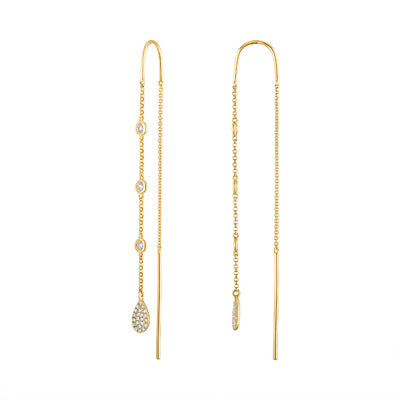 14KT GOLD DIAMOND BEZEL SET AND PAVE TEARDROP THREADER EARRING
