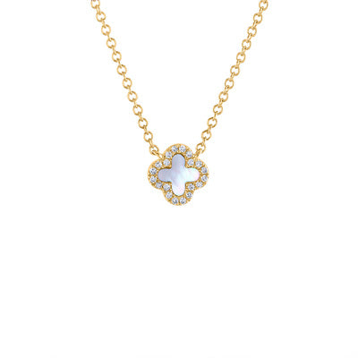 14KT GOLD DIAMOND MINI MOTHER OF PEARL CLOVER NECKLACE