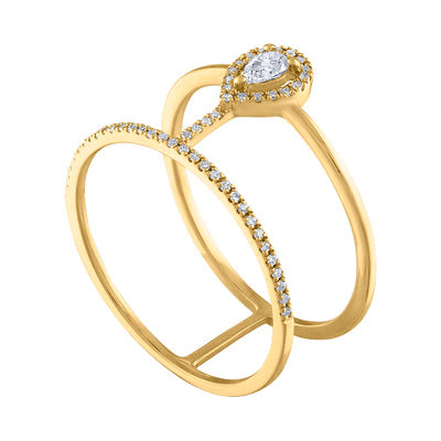 18KT GOLD DIAMOND 2 LINE TEARDROP RING