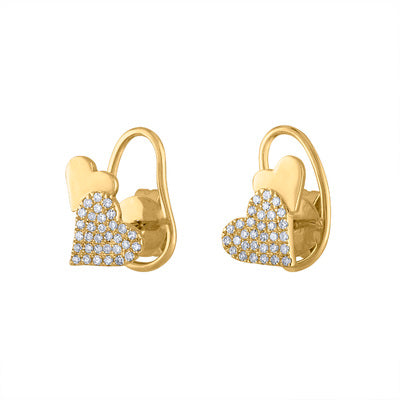 14KT GOLD DIAMOND DOUBLE HEART EARRING