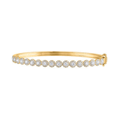 14KT GOLD DIAMOND MARTINI SET BANGLE BRACELET