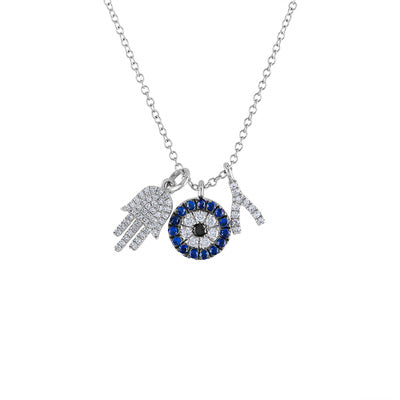 14KT GOLD DIAMOND AND BLUE SAPPHIRE CHARM NECKLACE