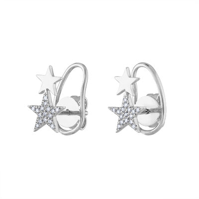 14KT GOLD DIAMOND DOUBLE STAR EARRING