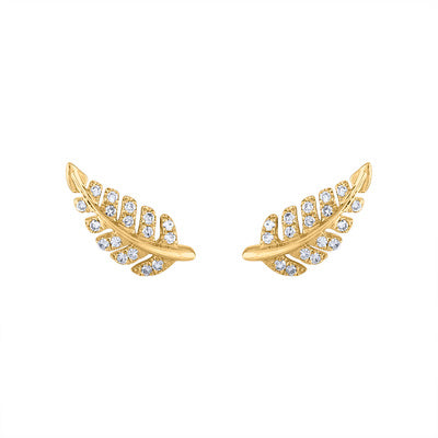 14KT GOLD DIAMOND MINI LEAF STUD EARRING