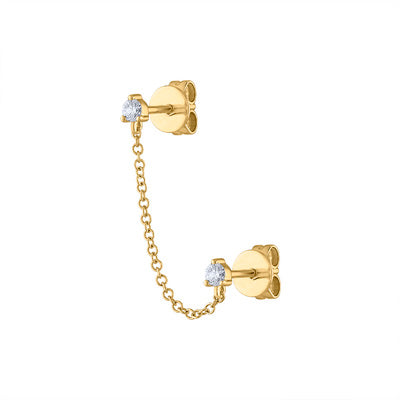 14KT GOLD DOUBLE DIAMOND PRONG CHAIN STUD EARRING