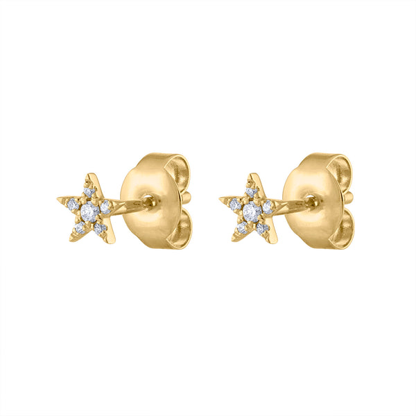 14KT GOLD PAVE DIAMOND MINI STAR STUD EARRING