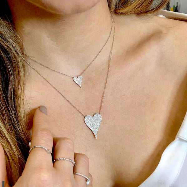 14KT GOLD MEDIUM MODERN HEART DIAMOND NECKLACE