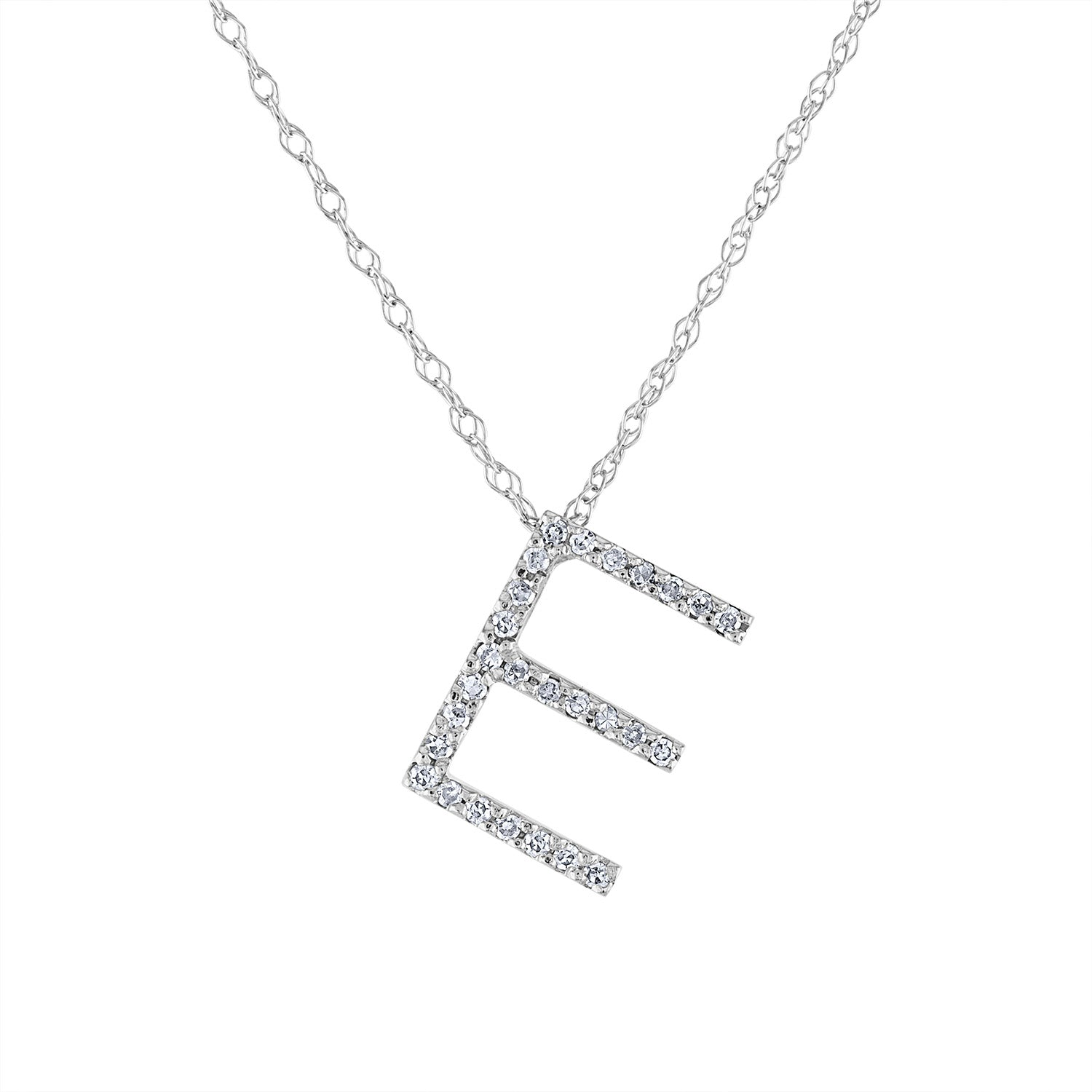 14k White Gold diamond initial E necklace