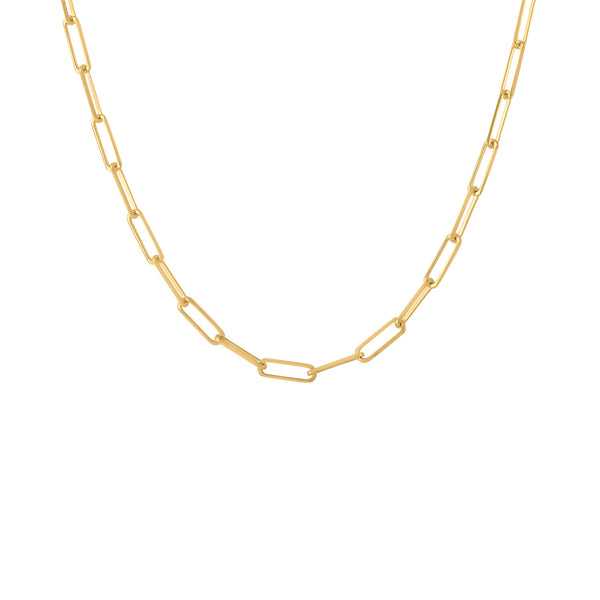 "14KT YELLOW GOLD 32"" RECTANGLE LINK PLAIN CHAIN"