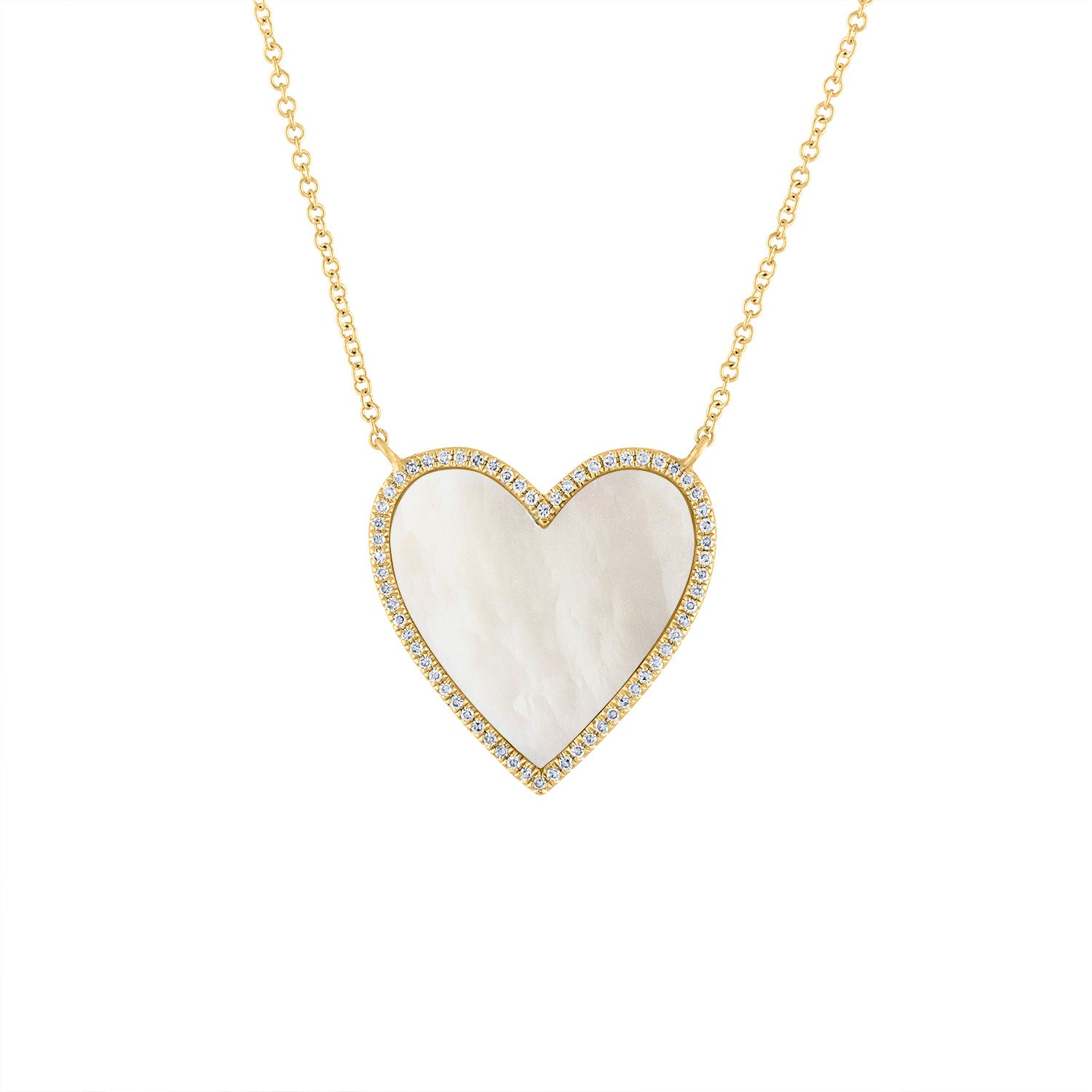 14KT GOLD DIAMOND MOTHER OF PEARL NECKLACE