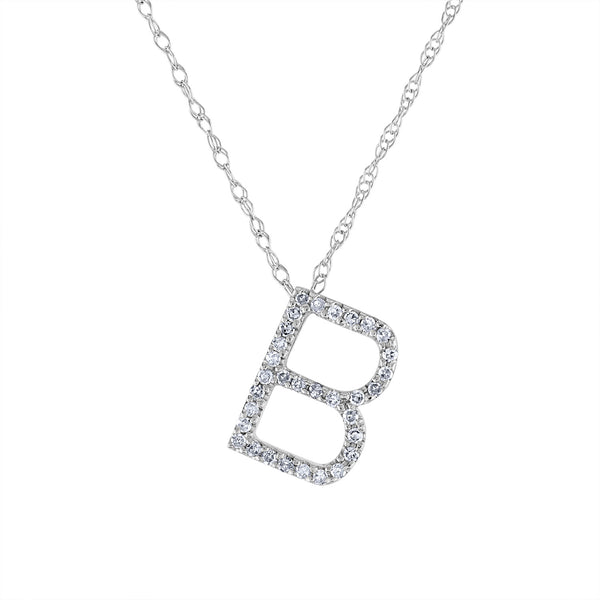 14k White Gold diamond initial B necklace
