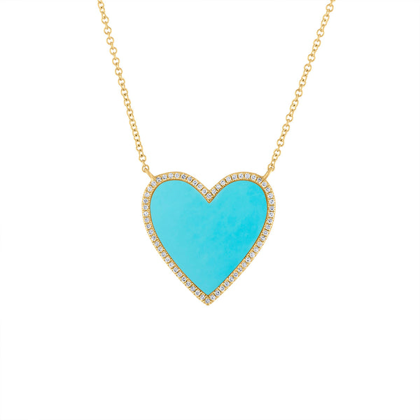14KT GOLD DIAMOND AND TURQUOISE HEART NECKLACE