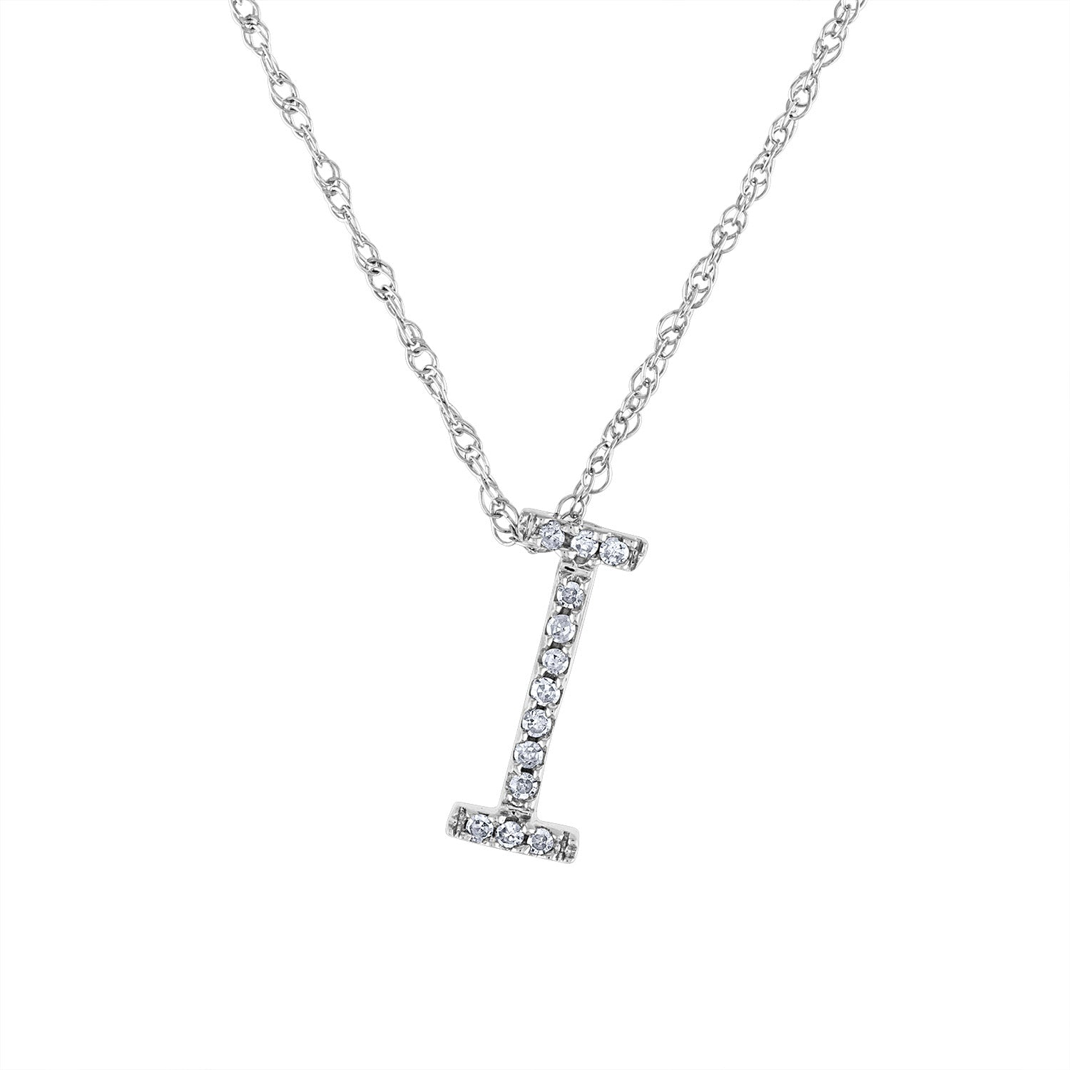 14k White Gold diamond initial I necklace