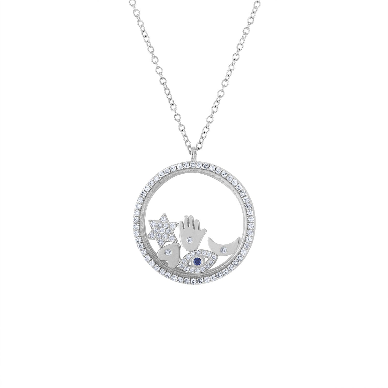 14KT GOLD DIAMOND FLOATING CHARM PENDANT NECKLACE