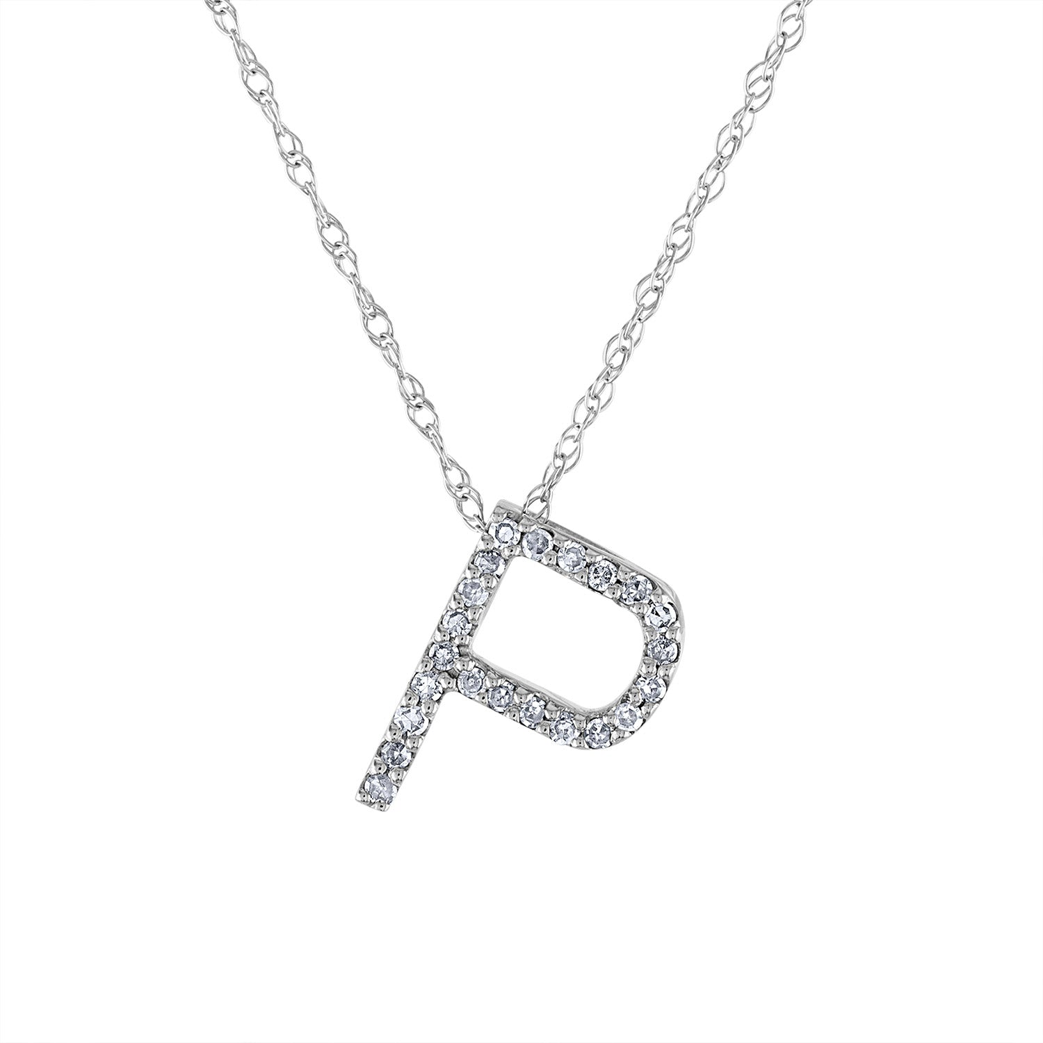 14k White Gold diamond initial P necklace