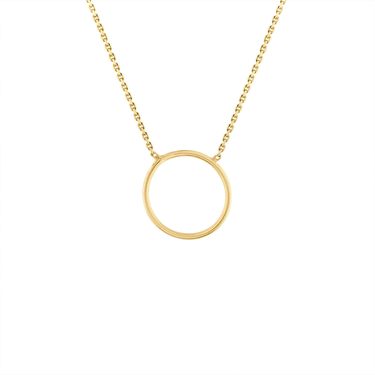 14KT GOLD PLAIN OPEN CIRCLE NECKLACE