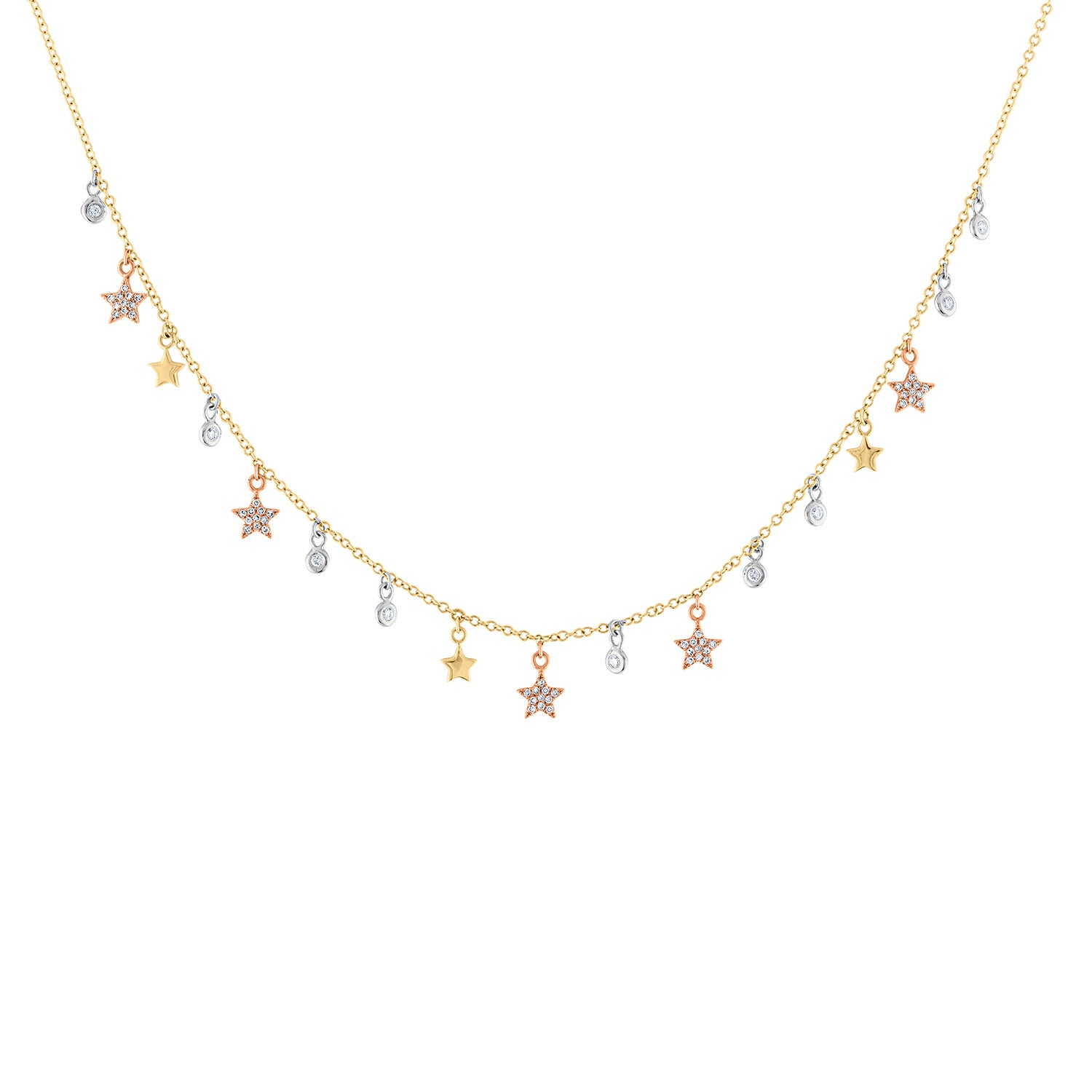 14K Tricolor Gold star bezel dangle necklace