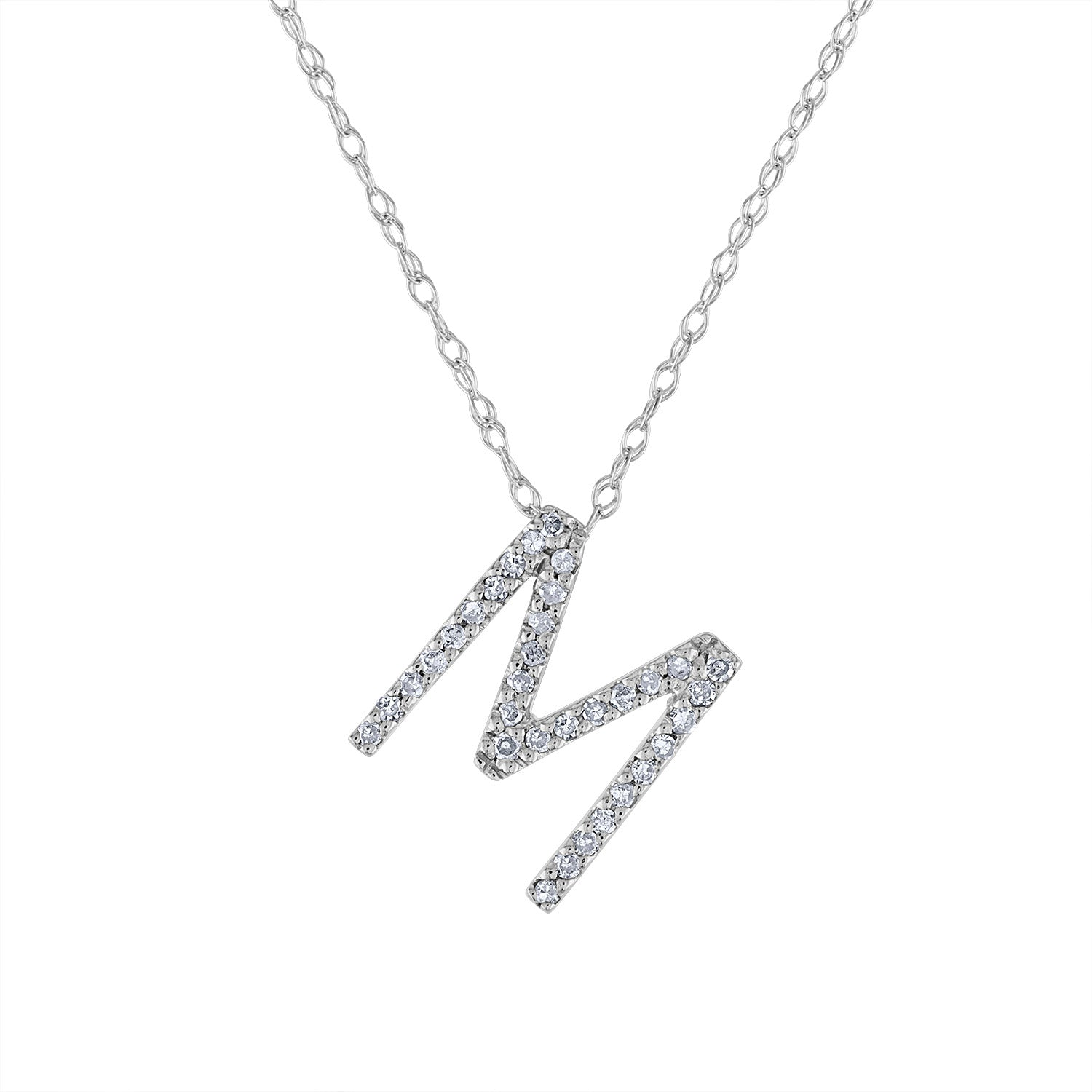 14k White Gold diamond initial M necklace