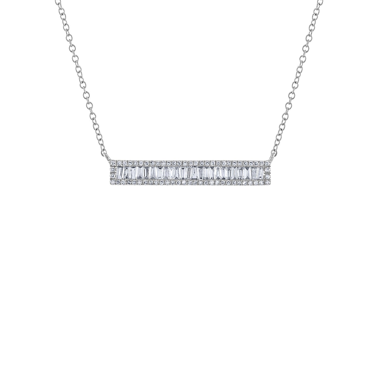 14KT GOLD BAGUETTE DIAMOND BAR NECKLACE