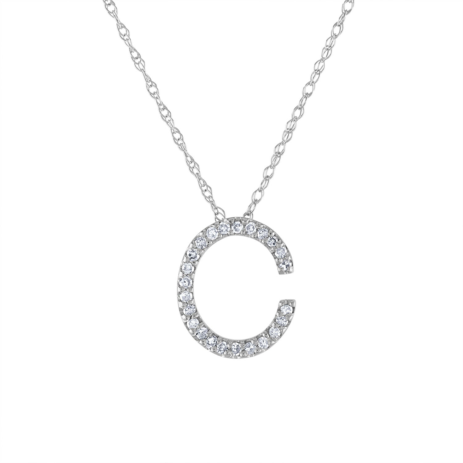 14k White Gold diamond initial C necklace