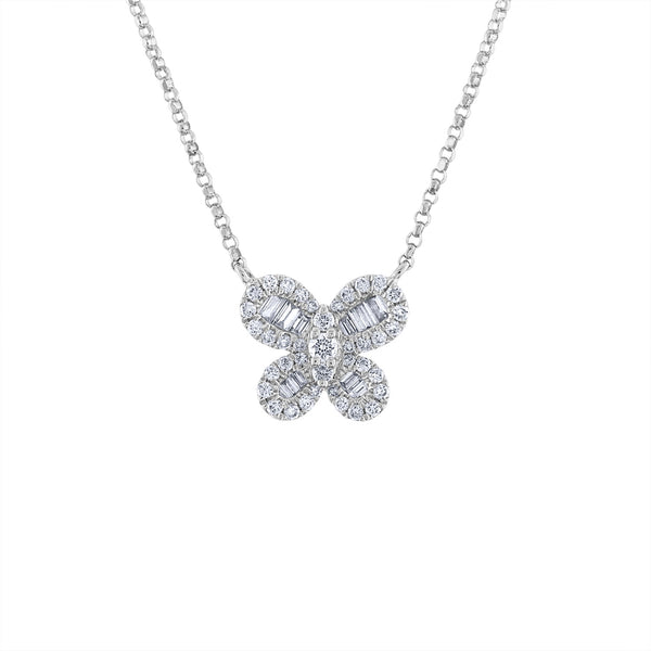 14KT GOLD BAGUETTE DIAMOND BUTTERFLY NECKLACE