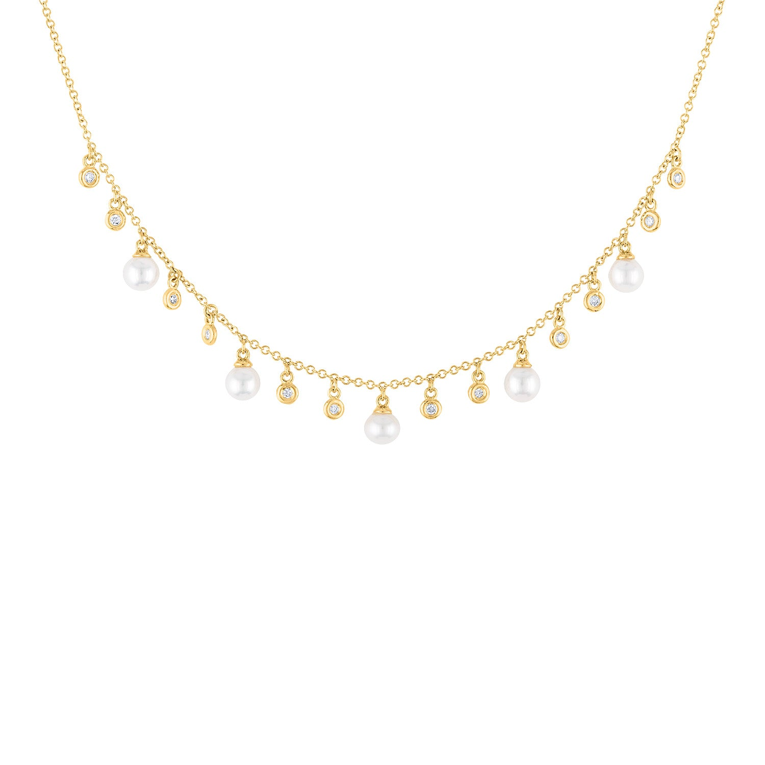 14KT GOLD BEZEL SET DIAMOND AND PEARL DANGLE NECKLACE