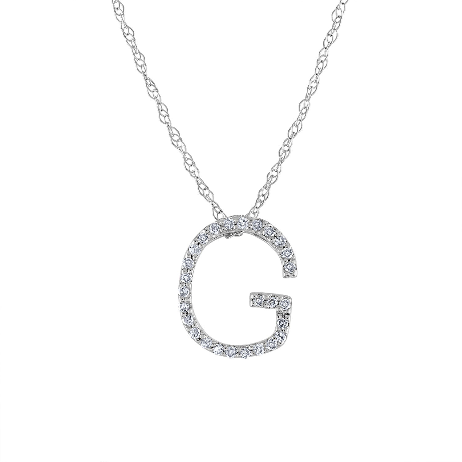 14k White Gold diamond initial G necklace