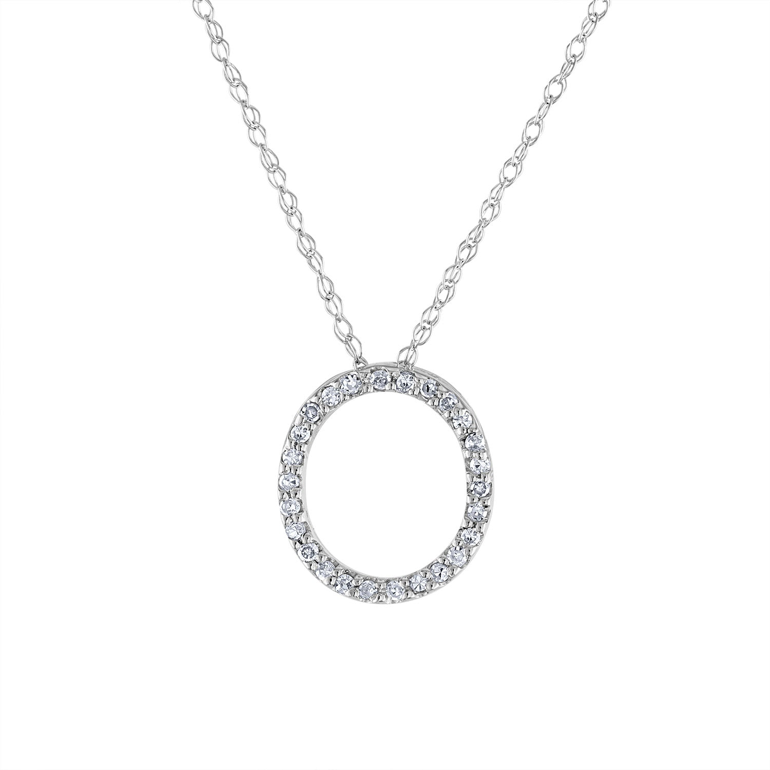 14k White Gold diamond initial O necklace