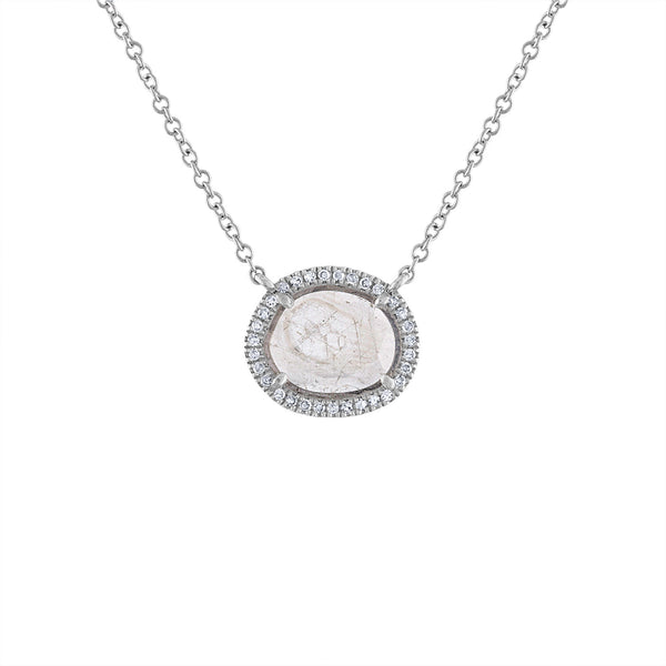 14KT GOLD SINGLE DIAMOND SLICE NECKLACE