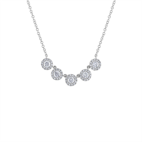14KT GOLD FIVE MARTINI SET DIAMOND NECKLACE