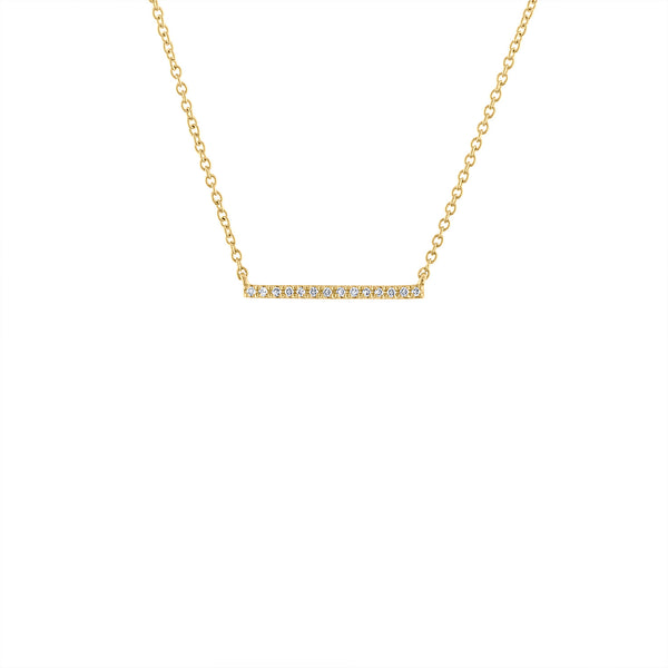 14KT GOLD THIN SMALL DIAMOND BAR NECKLACE