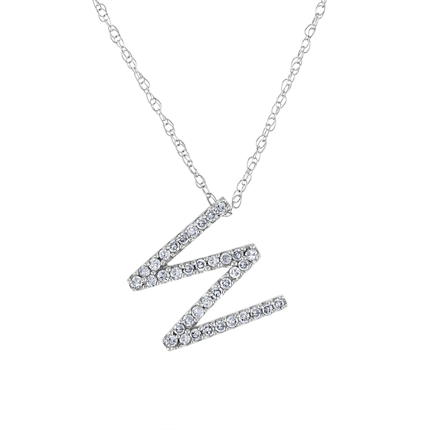 14k White Gold diamond initial W necklace