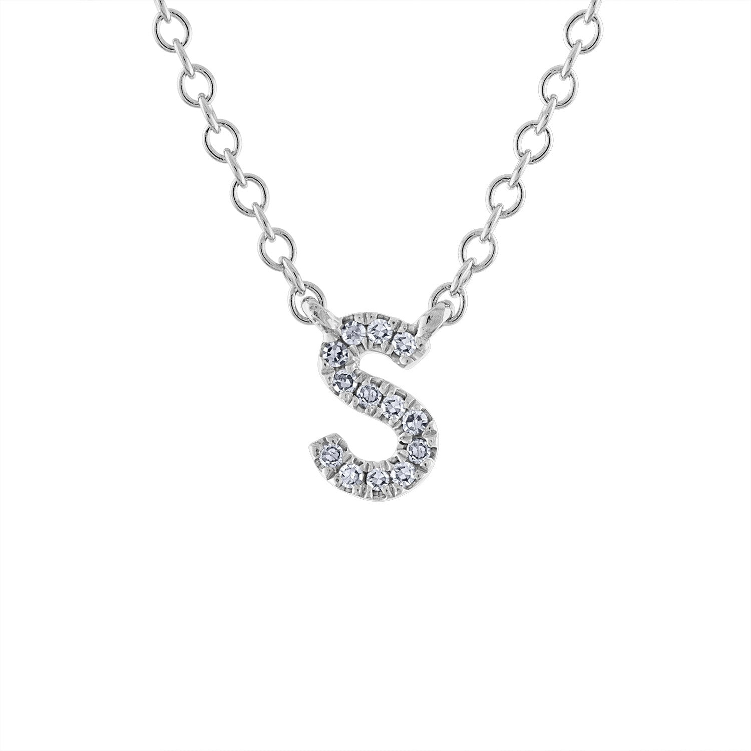 14KT GOLD DIAMOND INITIAL NECKLACE