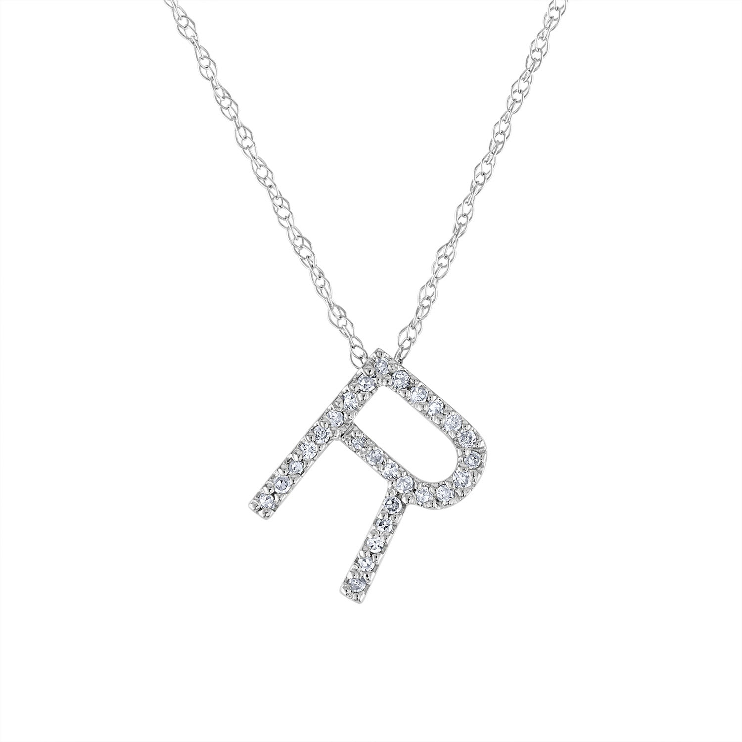 14k White Gold diamond initial R necklace