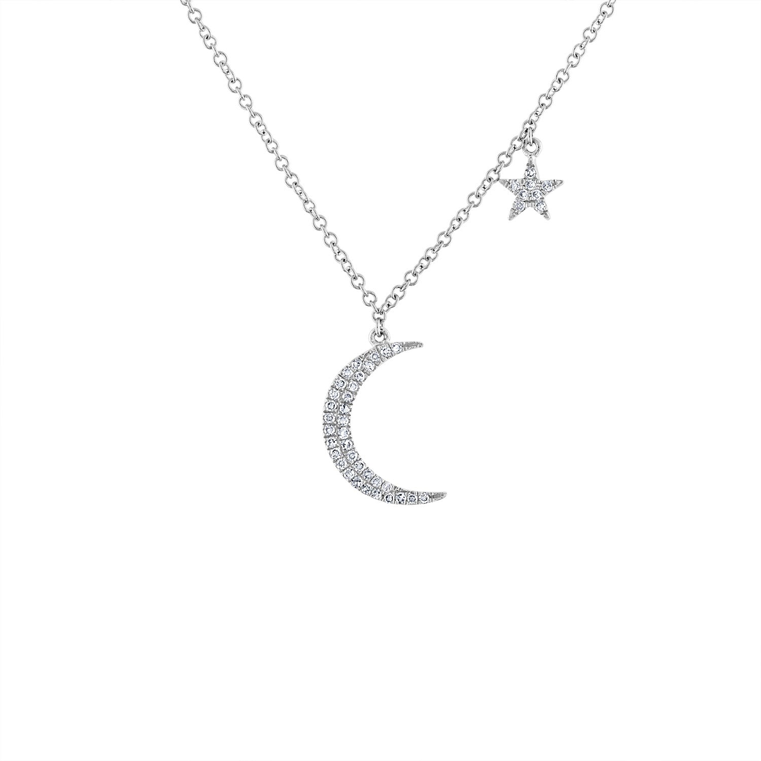 14KT GOLD DIAMOND CRESCENT MOON & STAR NECKLACE