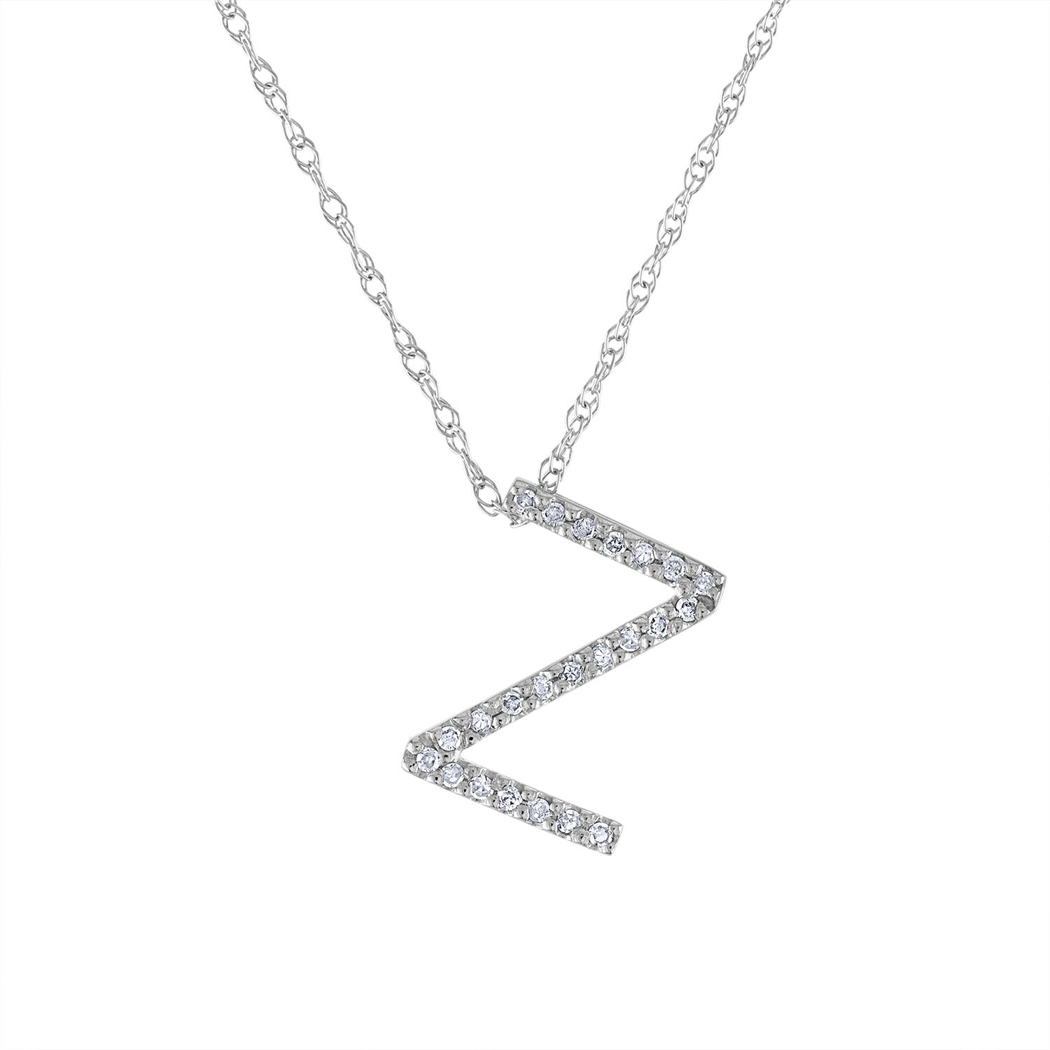 14k White Gold diamond initial Z necklace