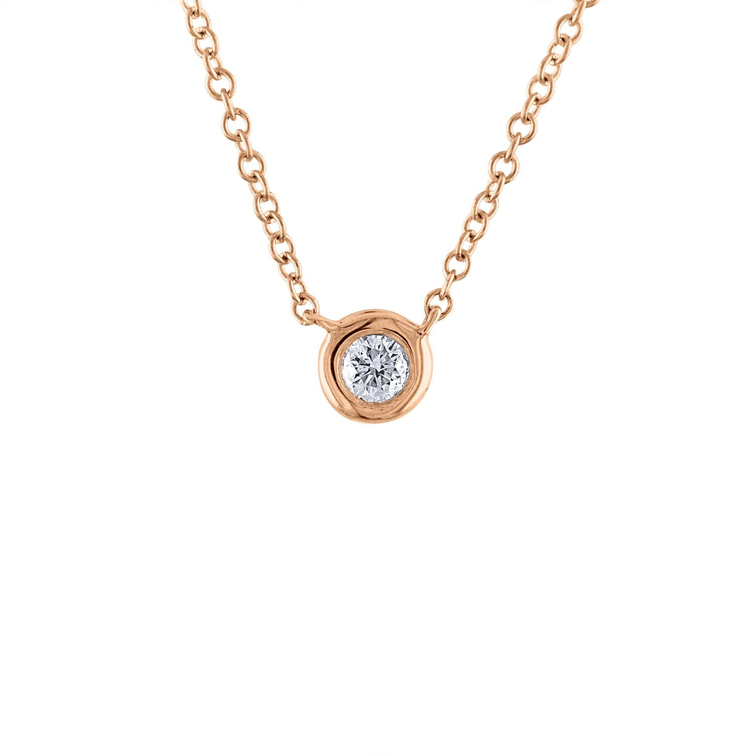 14KT GOLD DIAMOND SINGLE BEZEL SET NECKLACE